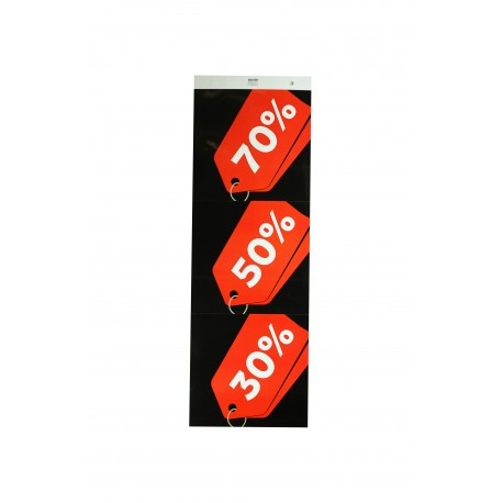 Cartel rebajas 70% 50% 30% rojo fondo negro
