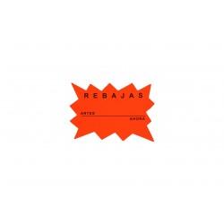 Cartel de rebajas naranja7x10 cm