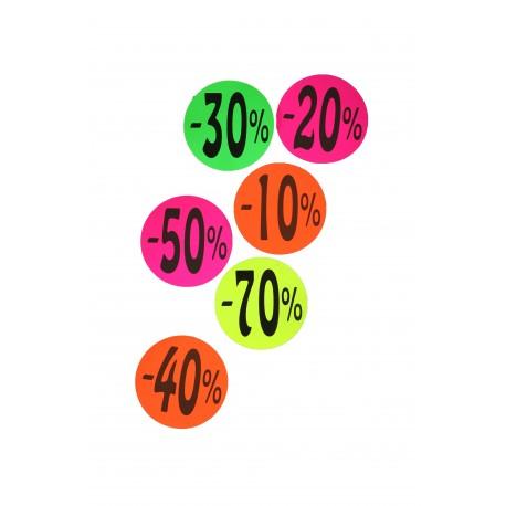 Cartel de rebajas 70% 50% 40% 30%20% 10% redondo