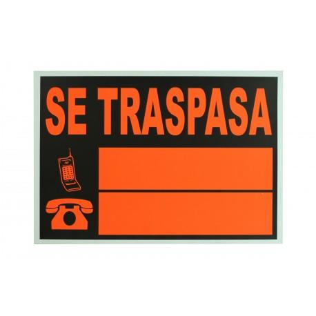 Cartel se traspasa naranja/negro 50x35cm