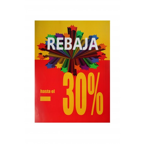Cartel 30% vertical amarillo/rojo