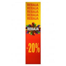 Cartel rebajas 20% vertical rojo/amarillo