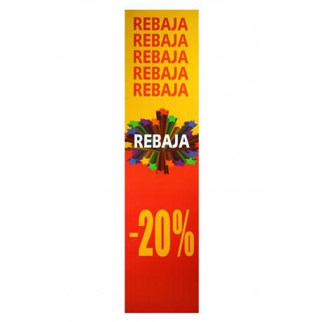 CARTEL VERTICAL DE REBAJAS 20% ROJO/AMARILLO
