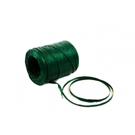 Cintas de rafia para regalos sintética verde metalizado 200 metros