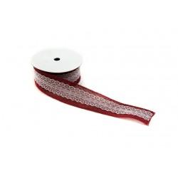 Cinta de tela saco para regalos roja con puntilla 9 metros
