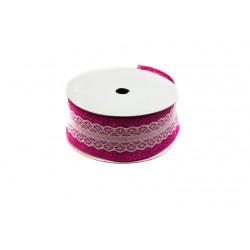 Cintas de tela saco para regalos rosa con puntilla 9 metros