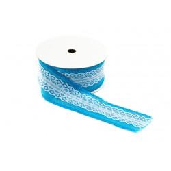 Cinta de tela saco para regalos azul claro con puntilla 9 metros