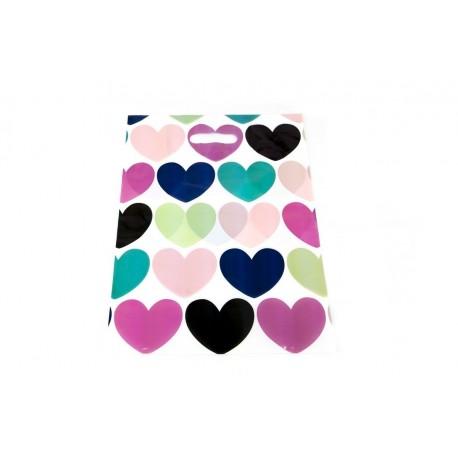 Bolsa de plástico asa troquelada corazones 35x45cm