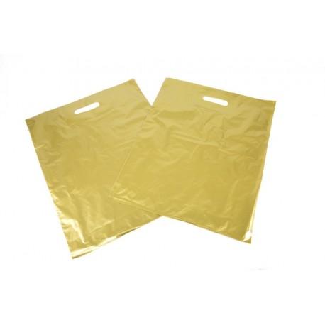 Bolsas de plástico asa troquelada dorada 40x50cm