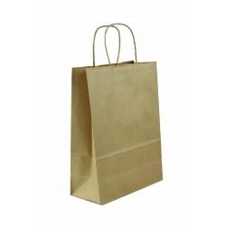 Bolsa de papel kraft con asa rizada havana 22x10x29cm