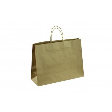 Bolsa de papel kraft asa rizada tostado 45x33x15cm