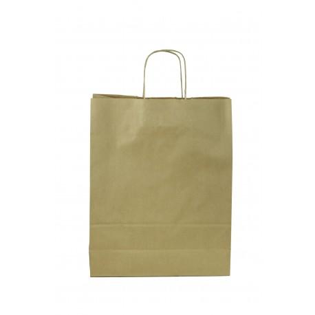 Bolsa de papel kraft con asa rizada tostado 27x12x37cm