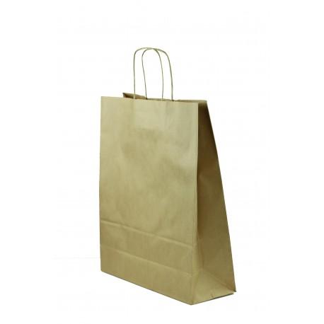 Bolsa de papel kraft con asa rizada havana 32x40x13cm
