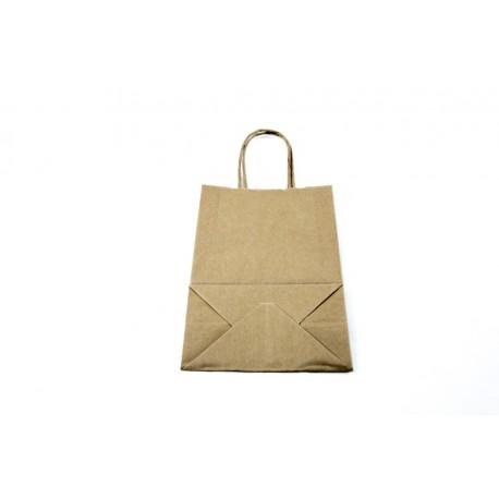 Bolsa de papel kraft asa rizada havana 21.5x8x14 cm