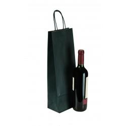 Bolsa de papel asa rizada para botellas azul 36x13+8.5cm