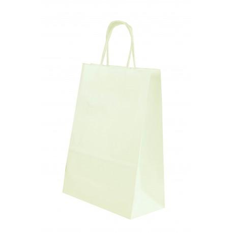 Bolsa de papel celulosa asa rizada blanco 29x10x22cm