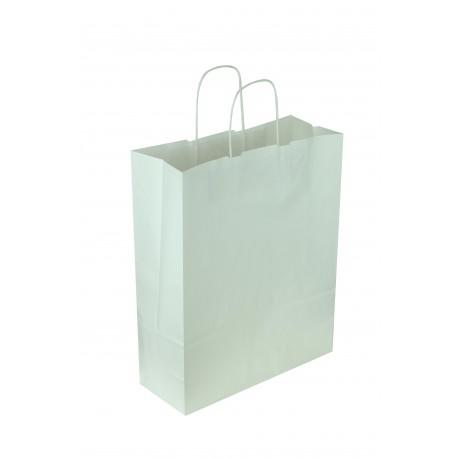 Bolsa de papel celulosa asa rizada blanco 32x13x41cm