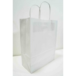 Bolsa de papel celulosa asa rizada blanco 27x12x37cm