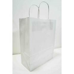 Bolsa de papel con asa rizada blanco 27x12x37cm