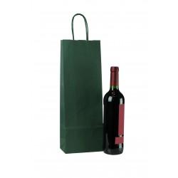 Bolsa de papel asa rizada para botellas verde 39x14+8.5cm