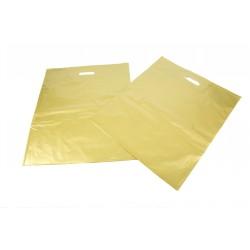 Bolsas de plástico asa troquelada dorada 35x45cm