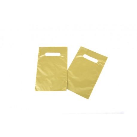 Bolsas de plástico asa troquelada dorada 16x25cm