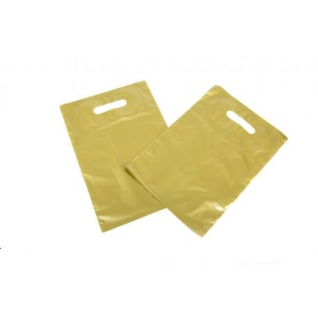 Bolsas de plástico con asa troquelada dorada 25x35cm