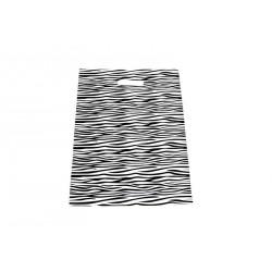 Bolsas de plástico asa troquelada estampado cebra 35x45cm