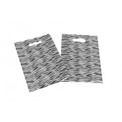Bolsas de plástico con asa troquelada estampado cebra 25x35cm