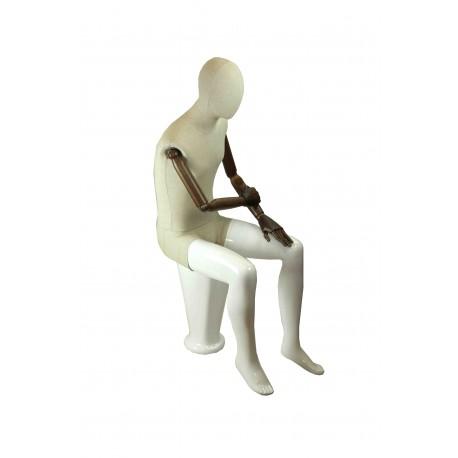 Maniquí de hombre fibra vídrio y tela blanco brillo sentado con brazos articulados