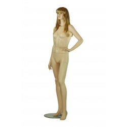 Maniquí de mujer fibra vídrio color carne mano izquierda en cintura