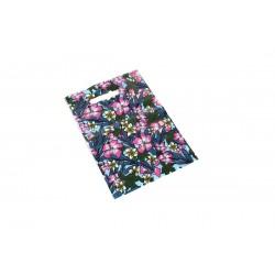 Bolsas de plástico asa troquelada estampado floral 25x35cm